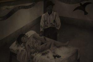 Dibujo Auto retrato de Frida Kalho Herida en Accidente