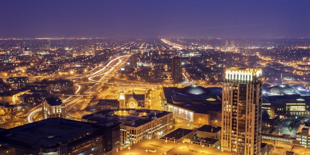 Panorama of Minneapolis at sunset. Minneapolis, Minnesota, USA.
