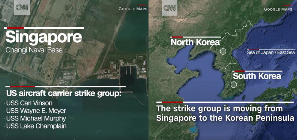 US Warships Are Headed For North Korea From Changi Naval Base - Us naval bases in japan map
