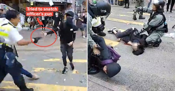 Hong Kong Policeman Fires Live Round At Protester Who Tried To Snatch His Gun, Full Incident Streamed Online