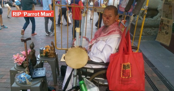 S'pore's Parrot Man Passes Away At 66, Allegedly Found Dead At Foot Of Geylang Bahru Block