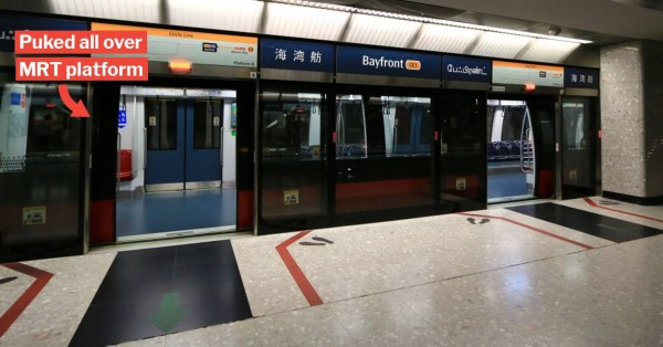 S'pore Redditor Pukes At Bayfront MRT & Dirties Clothes, Thanks Kind Soul Who Offers Wet Wipes