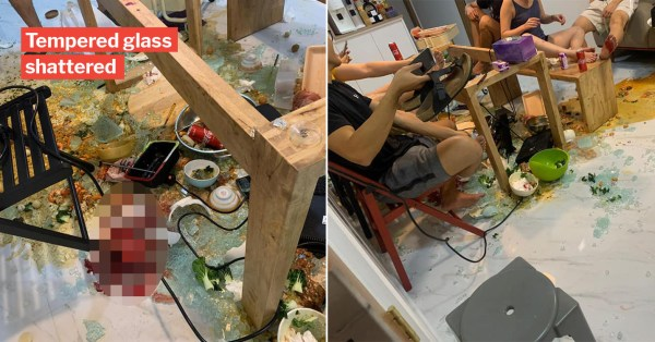 S'pore Lady's Glass Table Explodes During Steamboat Dinner, Guests Injured & Brought To Hospital