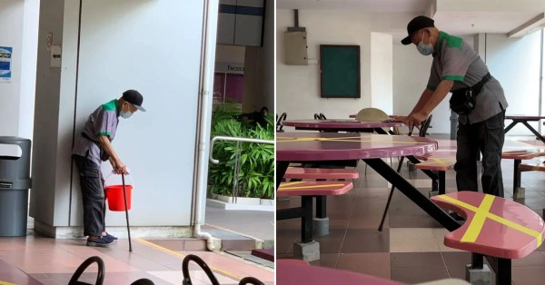 82-Year-Old Cleaner With Walking Stick Earns $1,300 A Month, So He Could Take Care Of His Wife