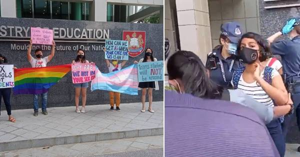 Students & LGBTQ+ Supporters Protest Outside MOE Building, 3 Of Them Arrested