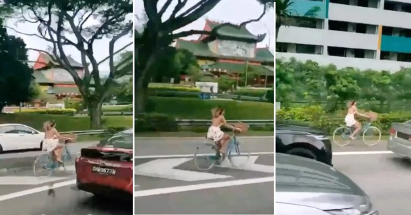 Woman Cycles On PIE Amid Heavy Traffic, Rides Through Road Markings & Onto Road Shoulder