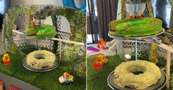 Parent Creates Jewel Changi Cake For Son's Birthday, Has Iconic Waterfall, Skytrain & Garden