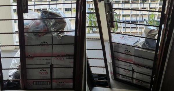 S'pore Resident Struggles To Open Gate After Deliveryman Stacks Boxes Outside