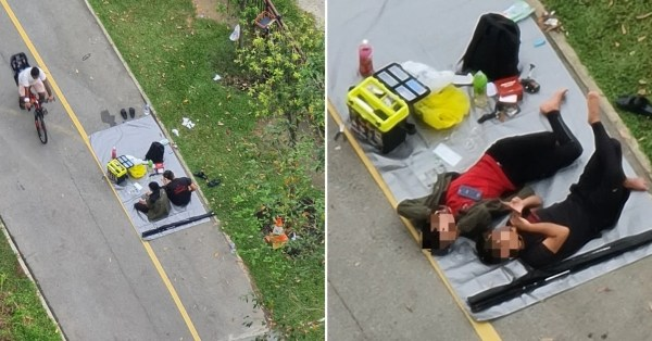 Duo Sets Up Picnic On Punggol PCN & Obstructs Path, Netizens Say It's Dangerous