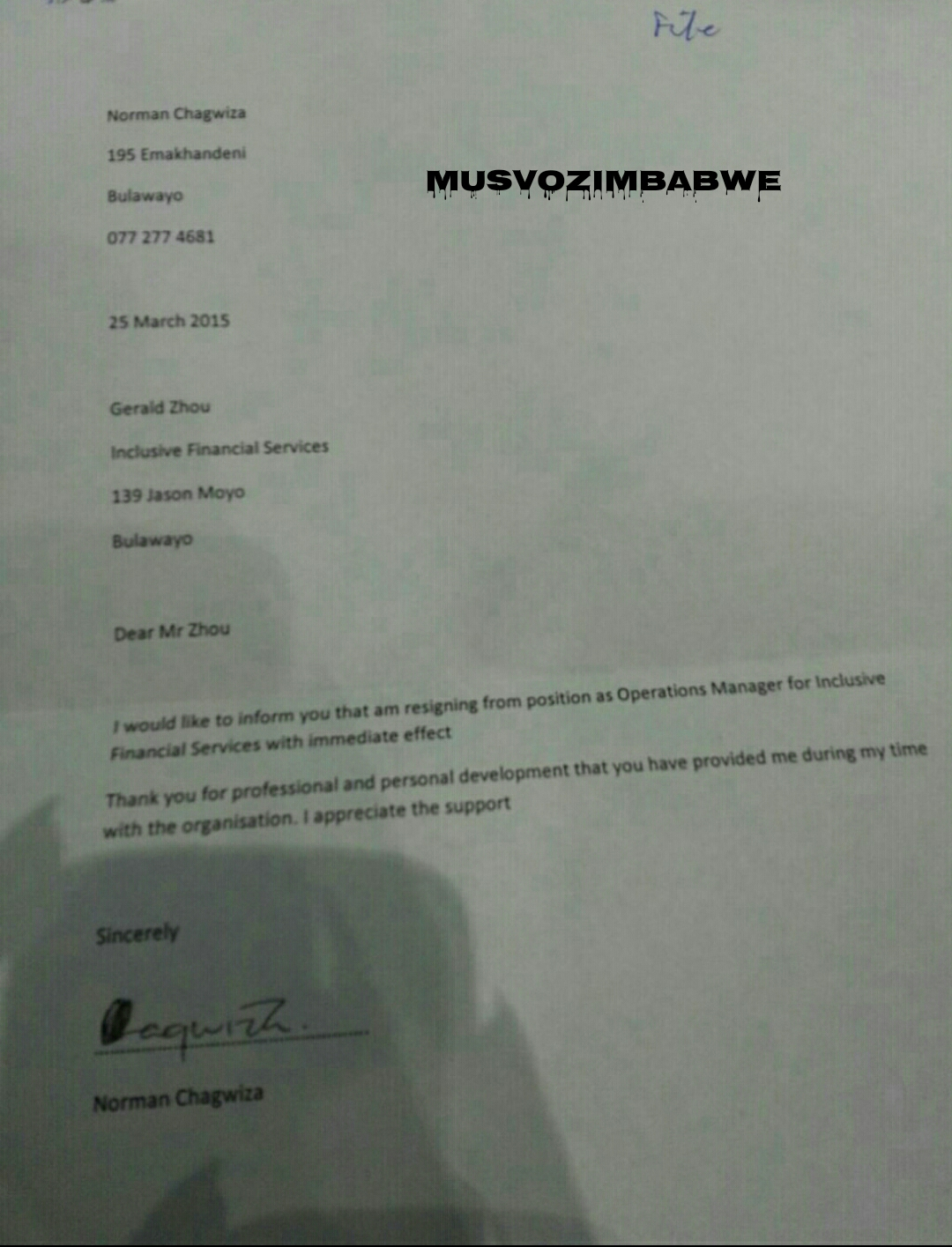 Norman resignation letter 1Married gay and Bulawayo