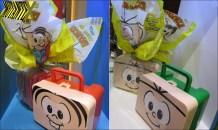 A Lacta também investe na Turma da Mônica, com ovos que vêm dentro de uma maleta.