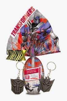Ovo Transformers (80g) traz chaveiros com o símbolo dos Autobots ou dos Decpeticons