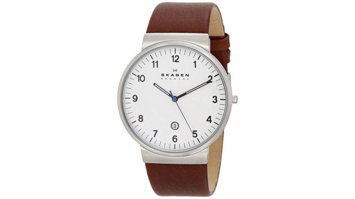 Skagen Klassik Men's Three-Hand Leather Watch | best men's watches under $100