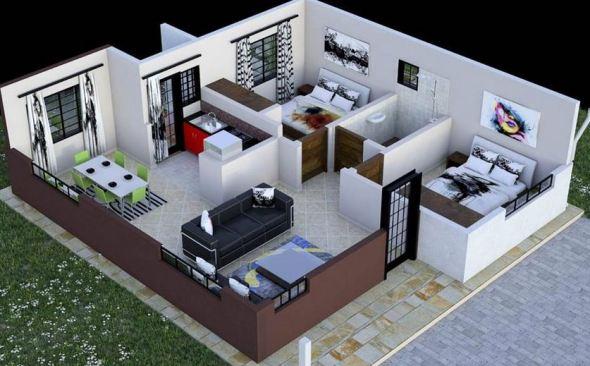2 Bedroom House plan in Kenya with floor plans (amazing design)
