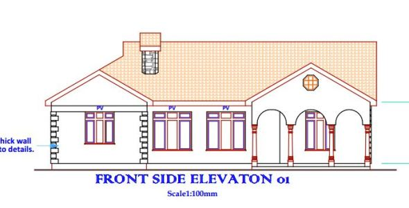 beautiful 3 bedroom house plan in Kenya