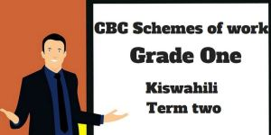 Kiswahili term 2, grade one, cbc schemes of work