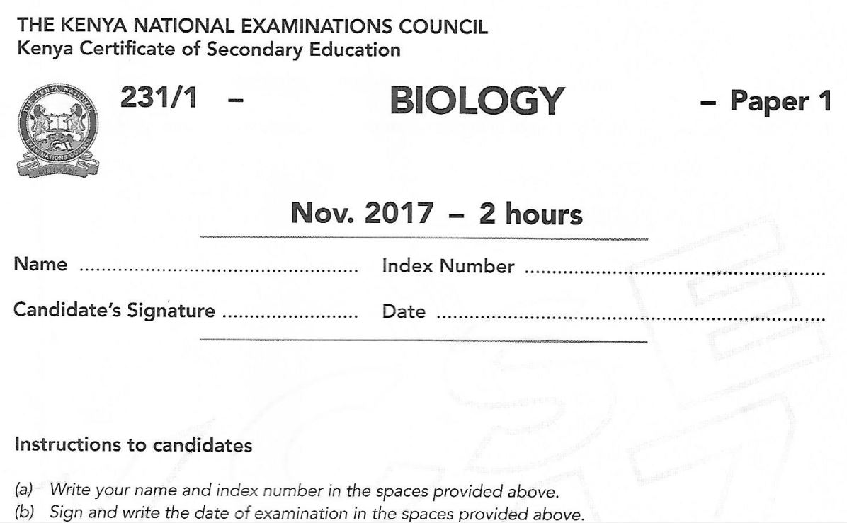 biology kcse papers