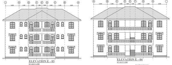 2 bedroom 2 units 3 story house plan in Kenya