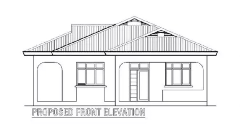 Front Elevation of 3 Bedroom House Plan