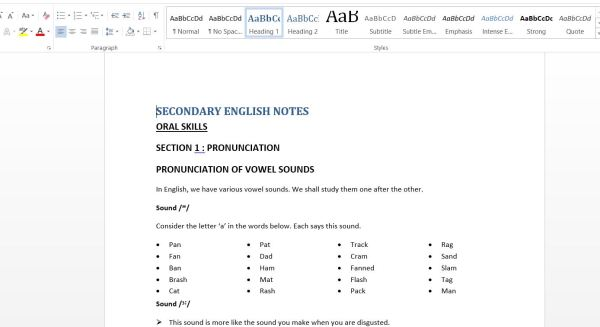 Download pdf of Secondary School English Oral Skills Guide Class Notes for kenya students and teachers