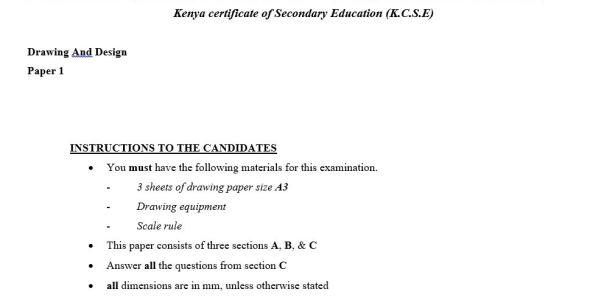 Drawing and Design KCSE Bomet Mock paper 1 (2017)