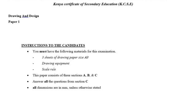 Drawing and Design KCSE Bomet Mock paper 1 (2017)