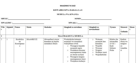Kiswahili Class 8 Schemes of Work, Term 1, 2 and 3