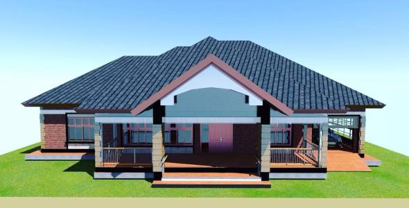 3 Bedroom house plan for a medium Family in Kenya