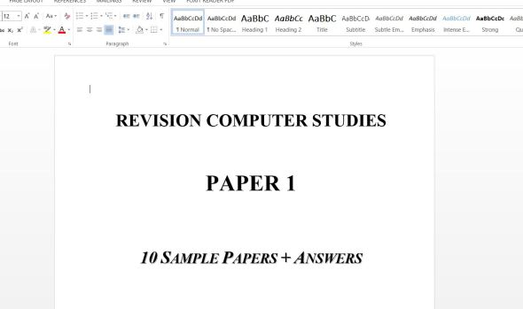 Computer Paper 1 revision Sample Questions with Answers