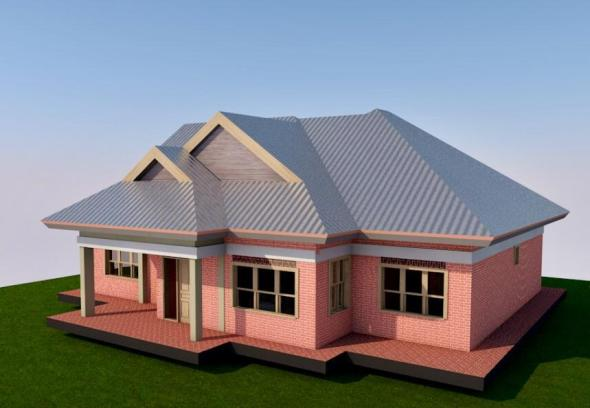 Free 3 Bedroom Simple House Plan with floor and roof plans