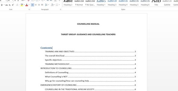sample Guidance and Counseling Training Manual
