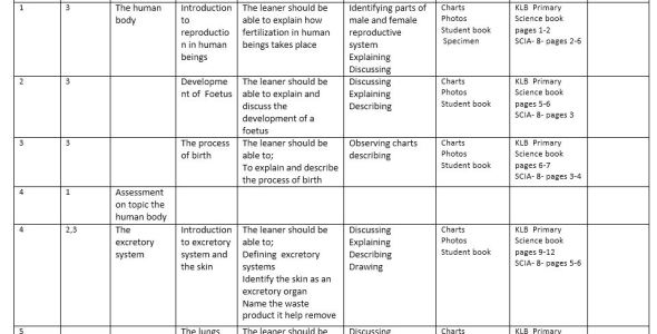 Klb science schemes of work class 8 term 1,2,3(new curriculum)