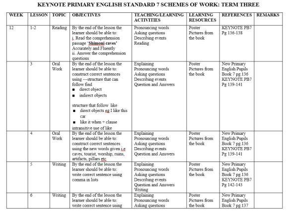 Class 7 English keynote schemes of work term 3 2019 (new curriculum)