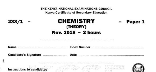 Chemistry Paper 1 2018 with marking scheme