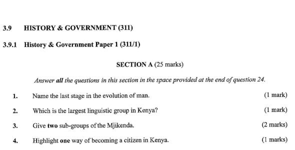 KCSE History Paper 1, 2018 with Marking Scheme (Answers)