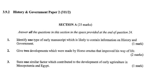 KCSE History Paper 2, 2018 with Marking Scheme (Answers)