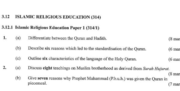 KCSE Islamic Paper 1, 2018 with Marking Scheme (Answers)
