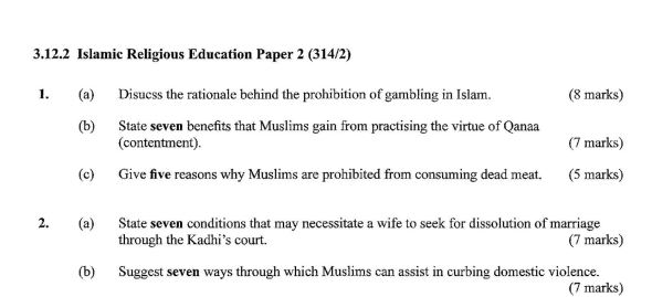 KCSE Islamic Paper 2, 2018 with Marking Scheme (Answers)