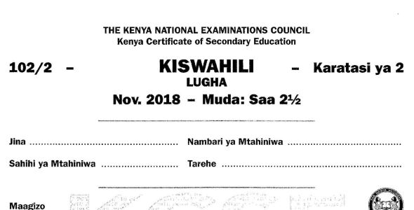 KCSE Kiswahili Paper 2, 2018 with KNEC Marking Scheme (Answers)