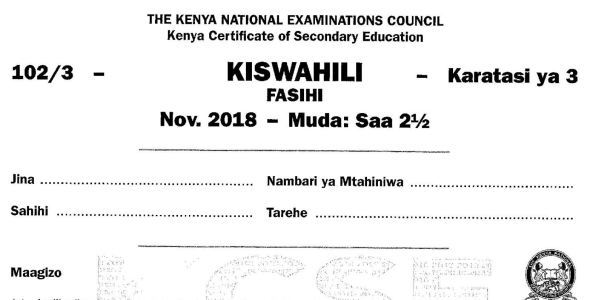 KCSE Kiswahili Paper 3, 2018 with Marking Scheme (Answers)