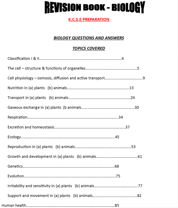 KCSE Biology revision book for students and teachers