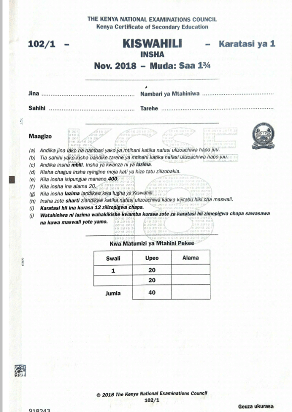 KNEC KCSE 2018 Kiswahili Paper 1,2 and 3 Combined with Answers
