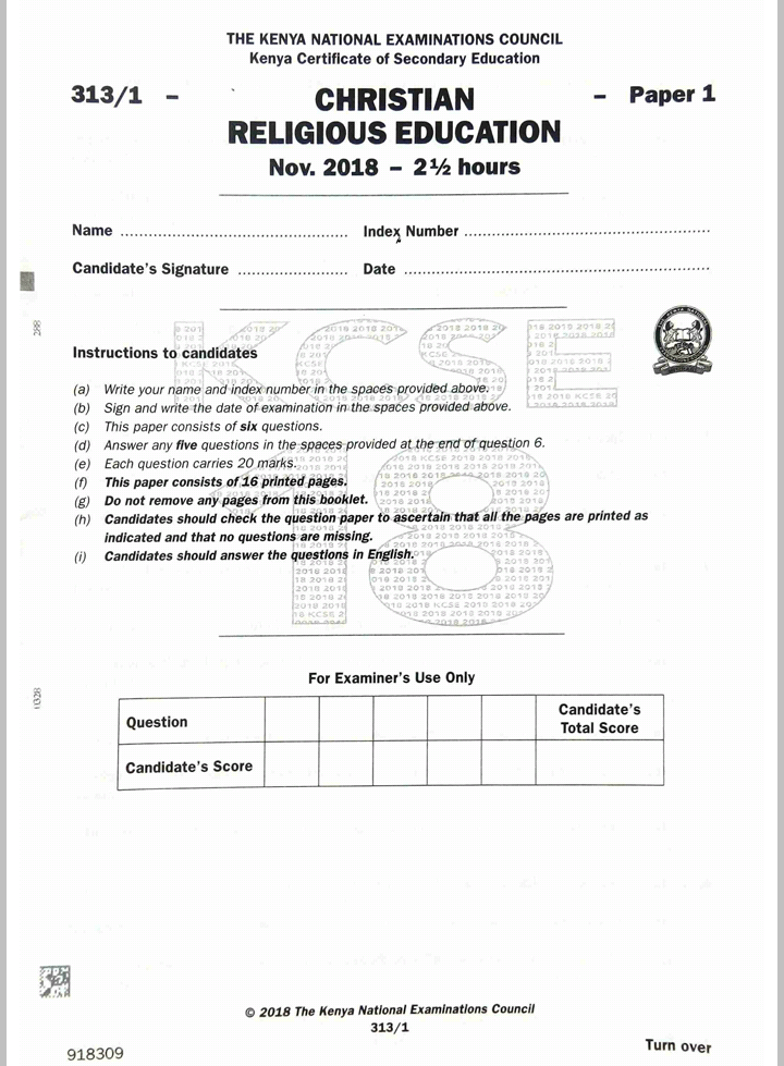 KNEC KCSE 2018 CRE Paper 1 and 2 Combined with Answers - Muthurwa  Marketplace