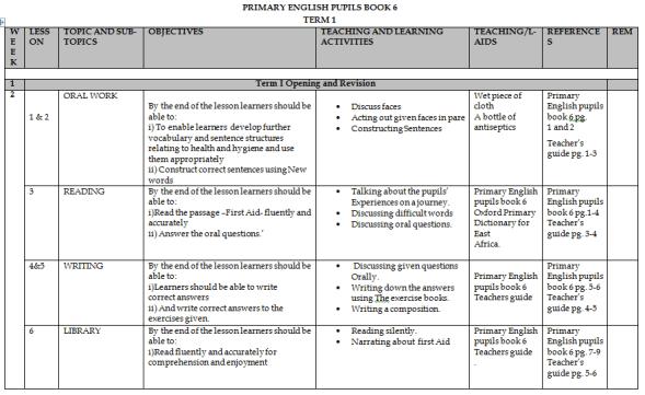 Class 6 English schemes of work 2019