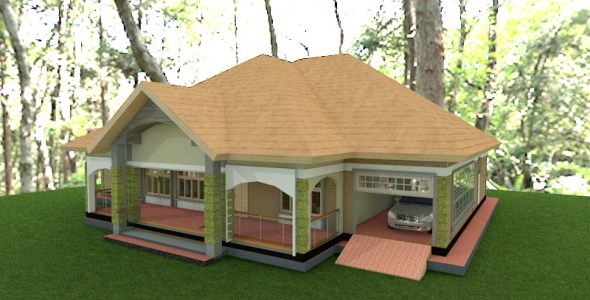 3 Bedroom simple house plan with a garage