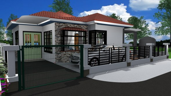 Cheap Three bedroom Bungalow House Design in Kenya