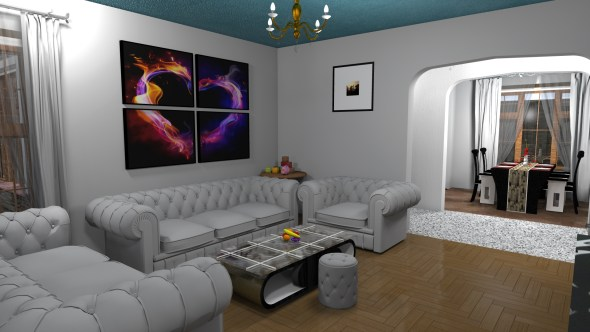 sitting room of Three Bedroom Bungalow House Design in Kenya