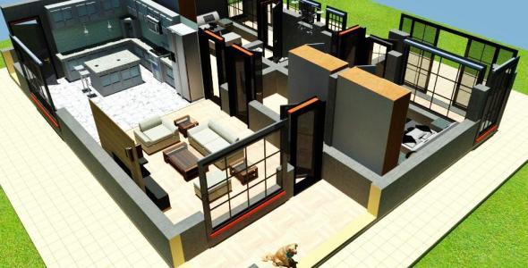 2 Bedroom House plan for a family in Kenya