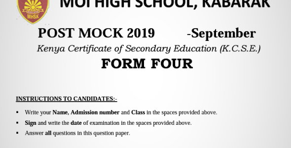 Kabarak Post Mock 2019 English Paper 1, 2 and 3 Combined with Marking Schemes