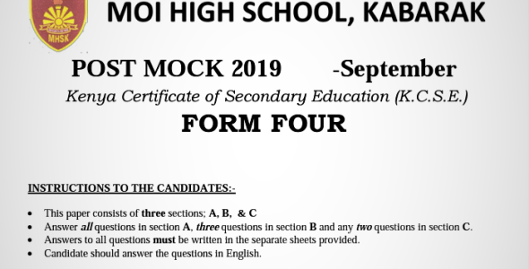 Kabarak Post-Mock 2019 History and Government Paper 1, 2 with Marking Schemes